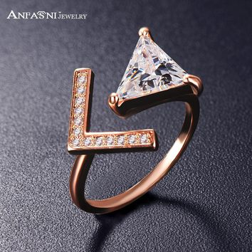 ANFASNI New Arrival  Trendy Two Colors Adjustable Micro Pave Rings Triangle CZ Stone and Letter V Ring for Women