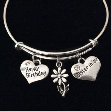 Happy Birthday Sister in Law Adjustable Bracelet Silver Bangle Expandable Gift Daisy