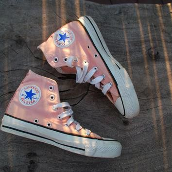vintage converse all star chucks peach coral rare color skate shoe sneakers 70s or 80s