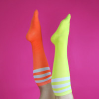 3 Stripe Neon Athletic Knee High Babe Socks