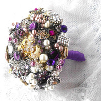 Brooch Bouquet, Wedding, Broche Bouquet, Custom Colors, Rhinestone, Jewelry, Alternative, Vintage, Bridal, bling, Purple, Champagne,  Pearls