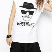 White Short Sleeve HEISENBERG Print Graphic T-Shirt