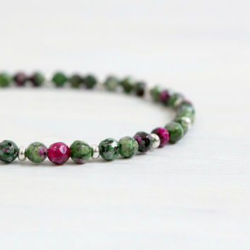 Minimalist Bohemian Jewelry Thin Gemstone Silver Stack Beaded Bracelet Gift for Her