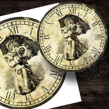 "Christmas DIY Clock Face - 12"" Digital Sheets CP-281 - Printable Image - Iron On Transfer - Wall Decor - Crafts - jpg & png Instant Donwload"