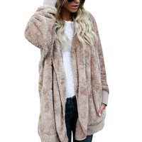 DCCKHQ6 New Year Spring Faux Fur Teddy Bear Coat Jacket Women Fashion Open Stitch Hooded Coat Female Long Sleeve Fuzzy Jacket