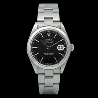 Rolex oyster watch black stick dial datejust rolex smooth bezel