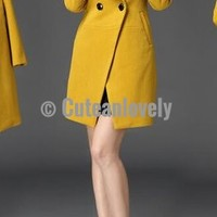 Yellow Long Sleeve Cotton and Wool Trench Coat