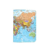 World Map Passport Holder - Novelty Leather Passport Cover - Vintage Passport Wallet - Travel Accessory Gift - Travel Wallet for Women and Men_LOKISHOP