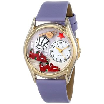 SheilaShrubs.com: Women's Volleyball Lavender Leather Watch C-0820021 by Whimsical Watches: Watches
