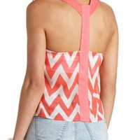 Sheer Chiffon Chevron Tank Top by Charlotte Russe