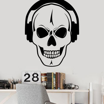 Vinyl Wall Decal Skull Headphones Music DJ Teen Room Decoration Stickers (354ig)