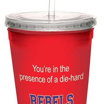 Tree-Free Greetings cc34492 Rebels College Football Fan Artful Traveler Double-Walled Cool Cup with Reusable Straw, 16-Ounce