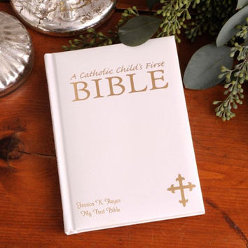 Personalized Laser Engraved Catholic Child's First Bible , Children's Bible , Baby Shower Gift
