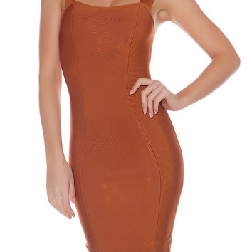 Xena Classic Pencil Bandage Dress - Copper