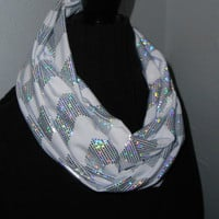 Chevron Infinity Scarf Shiny Silver Gray and White Zig Zag Circle Infiniti Loop