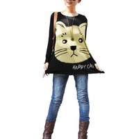 Allegra K Women Batwing Sleeve Loose Cat T Shirts Casual Oversize Tops, Black, Medium / US 10