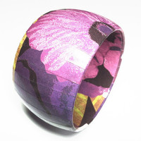 Purple Pansy Bangle Bracelets, Purple tones Jewelry, Dome shaped bangle bracelet, Purple print design