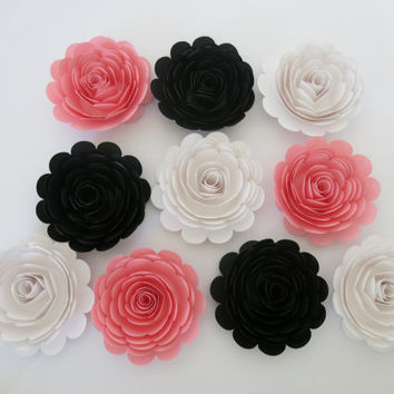 10 Pink Black And White Roses Large 3 Paper Flowers Y Dec