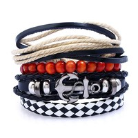Shiny Stylish Awesome New Arrival Gift Great Deal Hot Sale Handcrafts Strong Character Set Leather Punk Bracelet [250989281309]