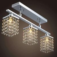 3 Light Hanging Crystal Linear Chandelier with  Fixture, Modern Flush Mount Ceiling Light Fixture for Entry Dining Room, Bedroom