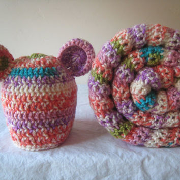 Baby Girl Gift Set, Sherbet Stripe Baby Blanket and Baby Bear Hat Set Crochet