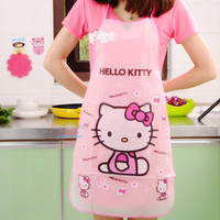 Apron Funny Kitchen Aprons Kawaii Hello Kitty Waterproof Anti-oil Delantal Cocina Cooking Tools Accessories For Women