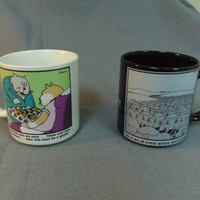 Far Side Tea or Coffee Mugs, 10 oz, Gary Larson Artwork, 1982 and 1985, Comic Strip Characters