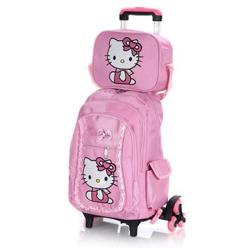 Hello Kitty Children School Bags  With Six Wheels Luggage