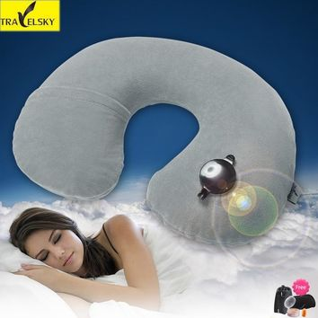 2018 Hot Sale U-shaped Travel Pillow Folding Neck Air Inflatable Travel Pillows Portable Business Trip Outdoor Solid Neck Pillow