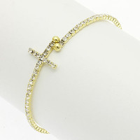 Skinny gold plated clear Rhinestones crystal Sideways cross cuff bangle bracelet  - pave stacking adjustable bracelets summer fashion 2013