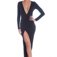 Plunging Ruched Front Slit Maxi Dress - Black