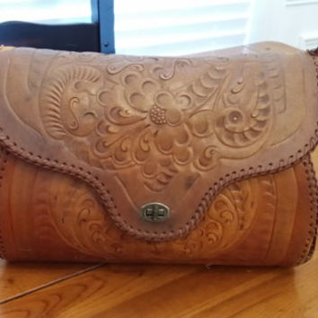 Large Vintage Hand Tooled Leather Bag Purse Hippie Boho Style Floral Design