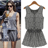 Sleeveless Vintage Print Buttoned V-Neck and Waist Tie Romper