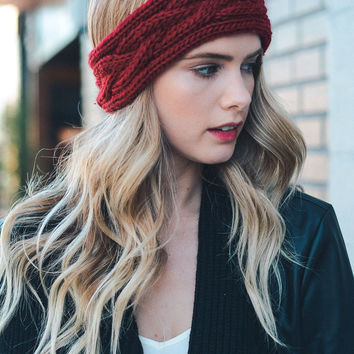 Chunky Knit Headband- Burgundy