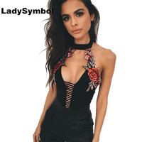 LadySymbol Summer 2017 Sexy Deep V Neck Bodysuit Women Rompers Jumpsuits Halter Embroidery Party Backless Bodycon Overalls