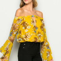 Mustard Bell Sleeve Off Shoulder Floral Print Top
