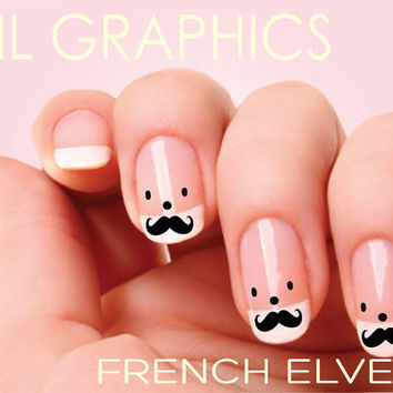 20  Mustache Butler Nail Decals  French Butler Oui La La NAILTHINS
