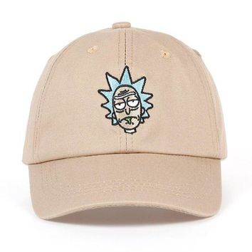 DCCKU7Q Rick and Morty New Khaki Dad Hat Crazy Rick Baseball Cap