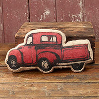 Burlap Antique Red Antique Pick Up Truck - Country Rustic Market Accent Throw Pillow - 12-in x 6-in