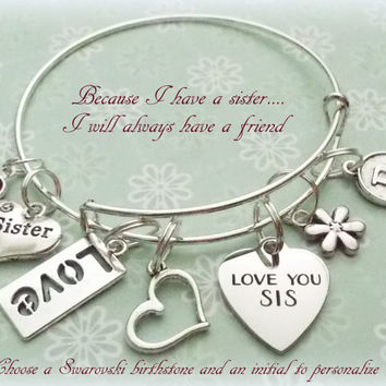 Gift for Sister, Sister Charm Bracelet, Sister Jewelry, Wedding Gifts for Brides Sister, Personalized Jewelry, Personalized Gift
