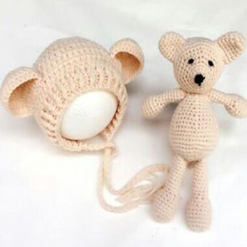 Hot! Newborn Baby Girl Boy Photography Prop Photo Crochet Knit Costume Bear +Hat Set BABY bear Costume