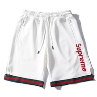 Supreme New Fashion Women Men Casual Letter Embroidery Sport Basketball Shorts White I13169-1