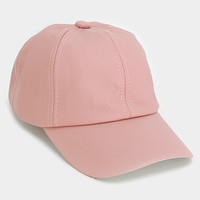 Faux Leather Pastel Pink Baseball Hat - Pink