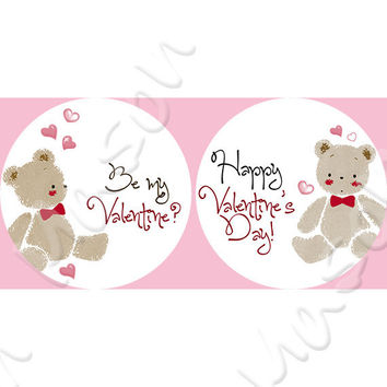 "Happy Valentine's Day Teddy Bear Labels Mason Jars or Gift Tags  - 2"" or 2.5"" round labels"