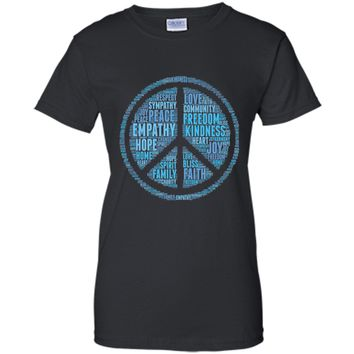 World Peace Symbol Peaceful Word Cloud Cool T-Shirt Gift