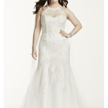 Jewel Illusion Halter Lace Plus Size Wedding Dress - Davids Bridal