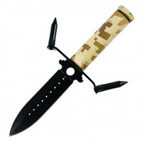 "8.25"" Survival Knife Black Blade W/ Sheath (Camo)"