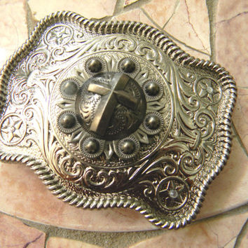 Silver Cross Belt Buckle, Womens Mens Kids Western Belt Buckle, Western Cross Custom Christian Belt Buckle, Baptism Confirmation Gift