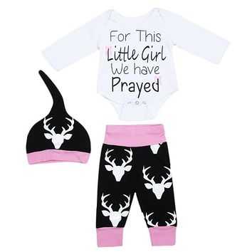 3pcs Baby Clothing Set Baby Girls Letter Printed Long Sleeve Jumpsuit Deer Printed Pants Hat Outfits Newborn Clothes