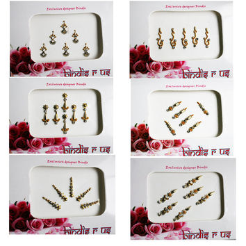 Wholesale Price 6 Bindi Pack in GOLD tone. Random Bindi Sale